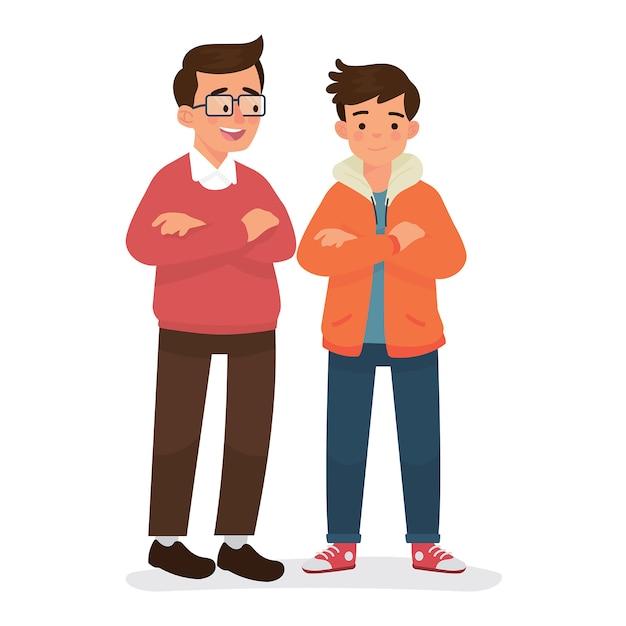 Padre e figlio in piedi insieme Vettore Premium