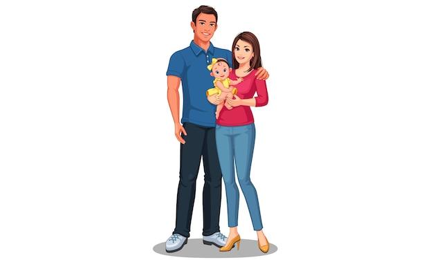 Padre e madre con figlia. famiglia felice Vettore Premium