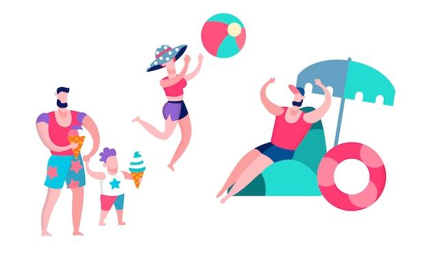 Padre, madre e figlio che si divertono nel resort, Vettore Premium