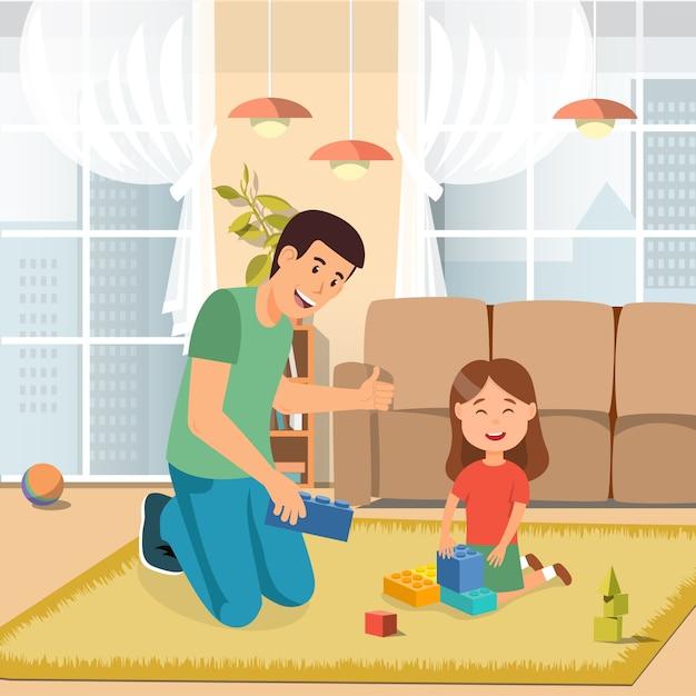 Padre playing toys bricks con la figlia a casa Vettore Premium