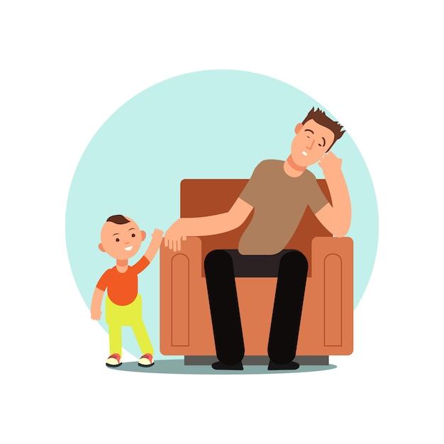 Padre stanco addormentato nell'illustrazione di vettore della sedia Vettore Premium