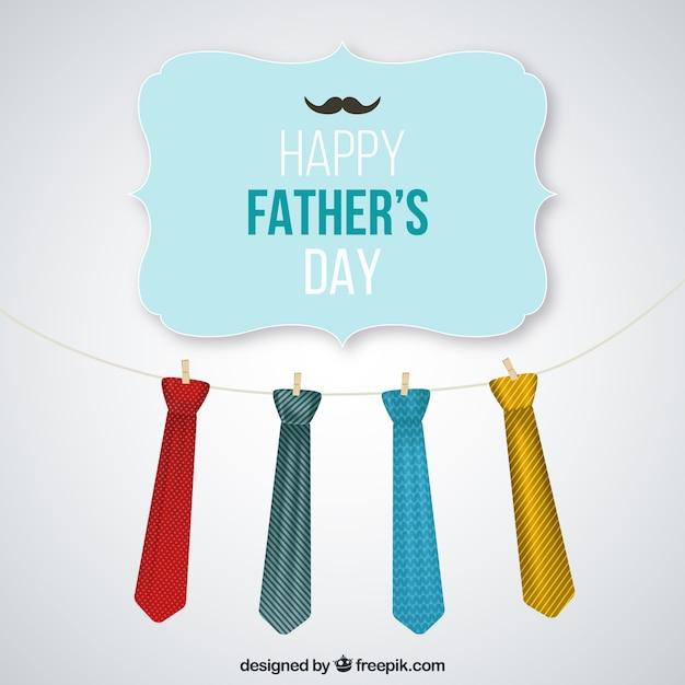 Padri day card con appesi cravatte Vettore gratuito