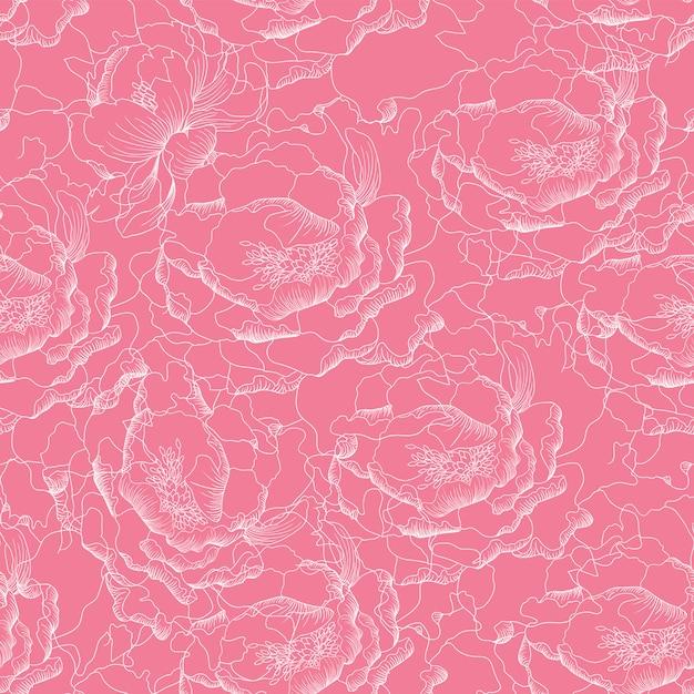 Paeonia senza cuciture fiorisce il fondo astratto. Vettore Premium