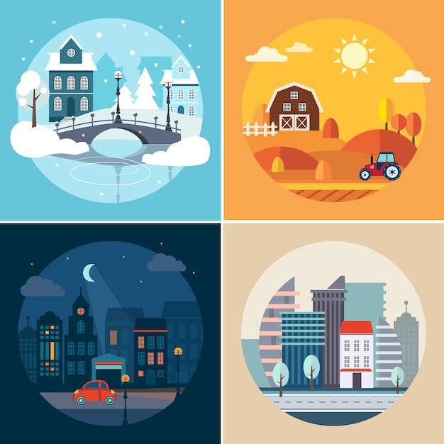 Paesaggi di città e campagna Vettore Premium