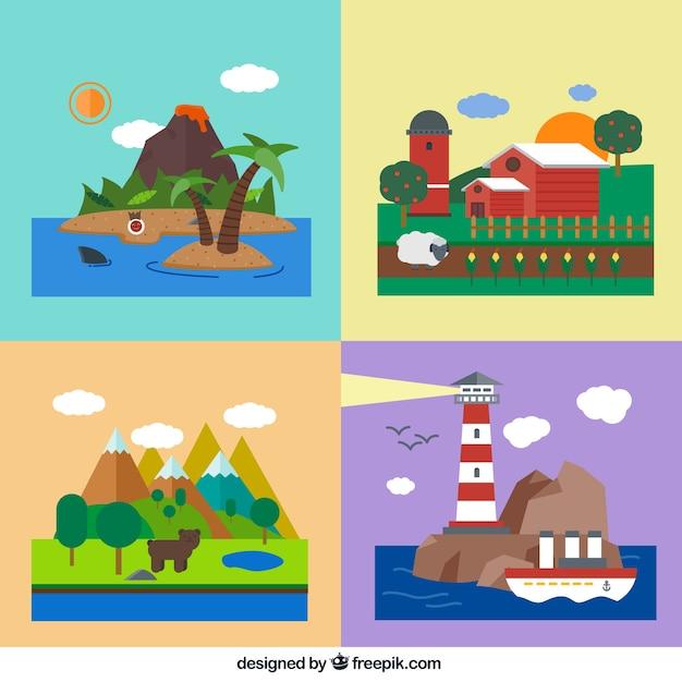 Paesaggi naturali scaricare vettori gratis for Foto paesaggi naturali gratis