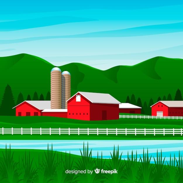 Paesaggio agricolo in stile piatto Vettore gratuito