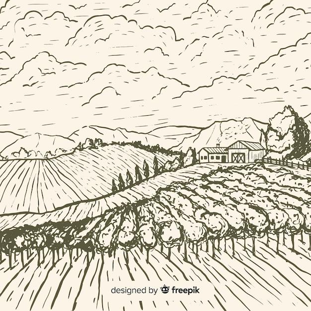 Paesaggio agricolo Vettore gratuito