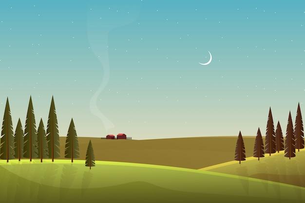 Paesaggio bellissima campagna con montagna e cielo Vettore Premium