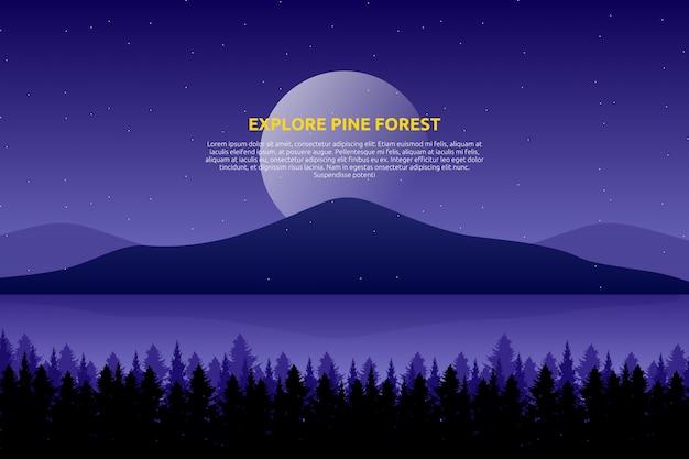 Paesaggio cielo viola e mare con notte stellata e legno di pino sulla montagna Vettore Premium