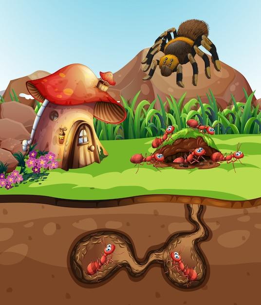 Paesaggio con formiche sotterranee Vettore Premium