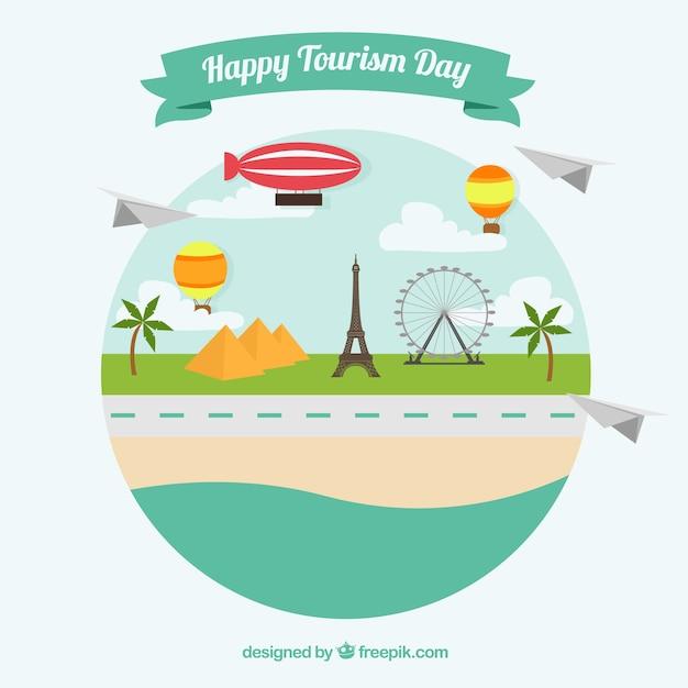 Paesaggio con monumenti per un giorno felice turismo Vettore gratuito