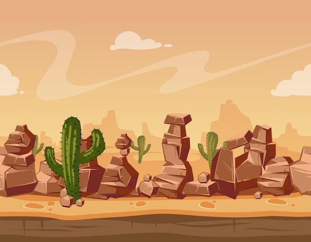 Paesaggio con pietre e cactus Vettore Premium