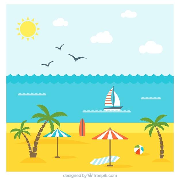 Paesaggio con vibrazioni estive in deisgn piatta Vettore gratuito
