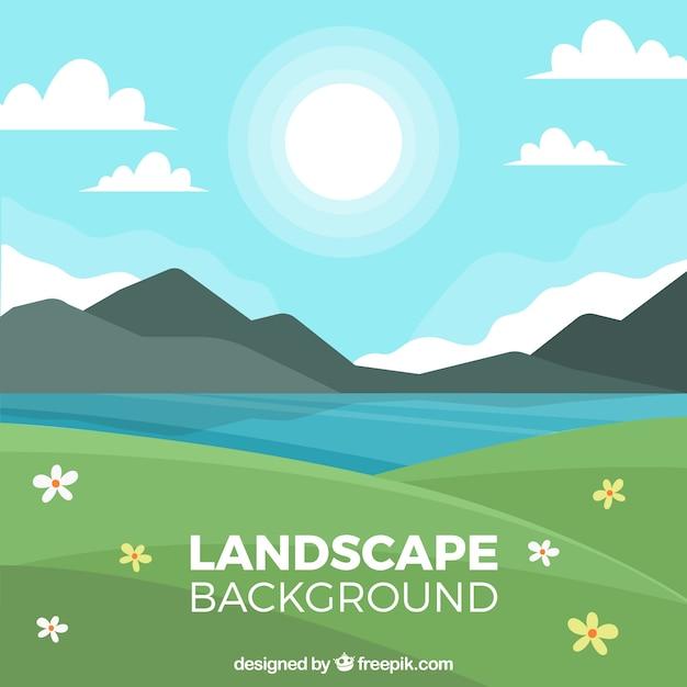 Paesaggio decorativo con lago e montagne Vettore gratuito