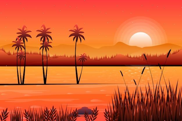 Paesaggio del cielo di tramonto con il fondo della montagna e del fiume Vettore Premium