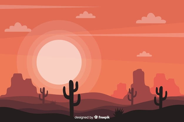 Paesaggio del deserto con cactus e sole Vettore gratuito