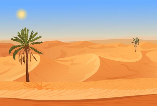 Paesaggio del deserto con palme Vettore Premium