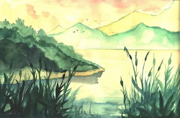 Paesaggio dell'acquerello disegnato a mano con il fiume Vettore Premium