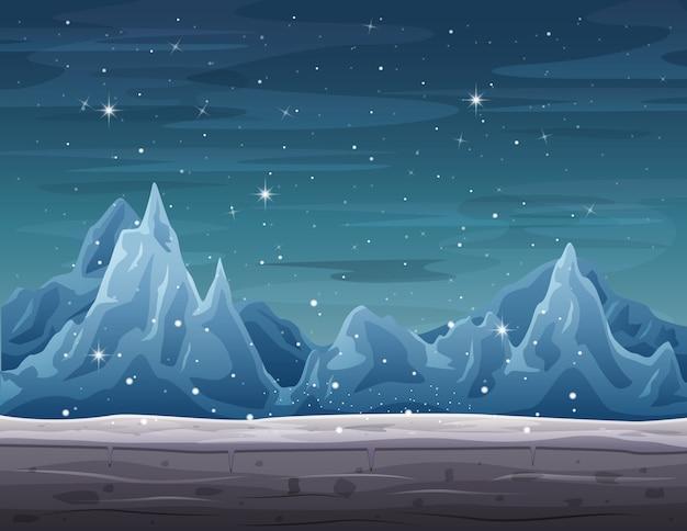 Paesaggio dell'iceberg sulla stagione invernale con le precipitazioni nevose Vettore Premium
