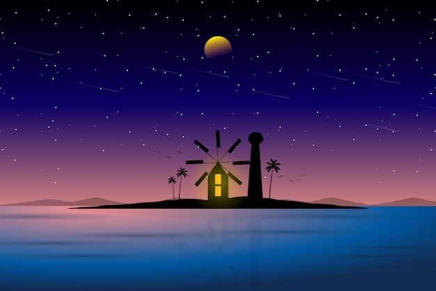 Paesaggio della casa leggera e del cielo notturno stellato Vettore Premium