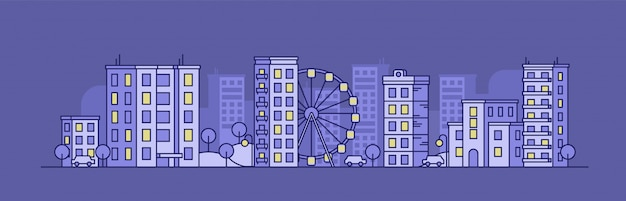 Paesaggio della città con la ruota panoramica nella notte Vettore Premium