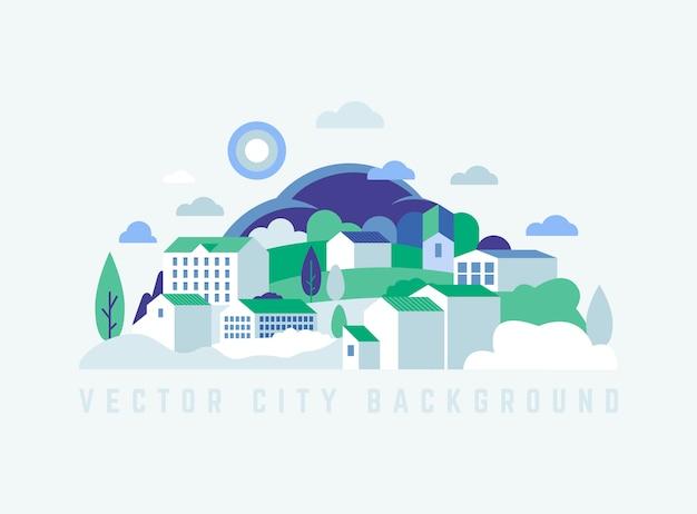 Paesaggio della città di eco con edifici, colline e alberi Vettore Premium