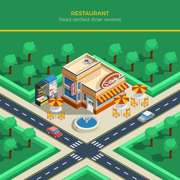 Paesaggio della città isometrica con la costruzione del ristorante Vettore gratuito