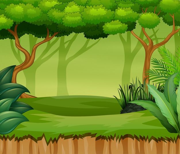 Paesaggio della foresta del fumetto con piante e alberi Vettore Premium