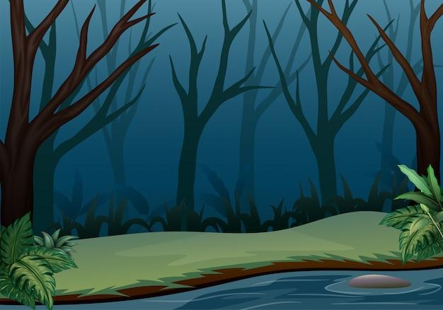 Paesaggio della foresta sulla scena di notte con alberi secchi Vettore Premium