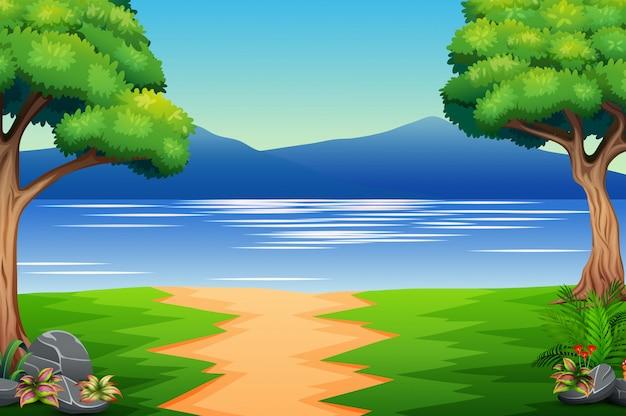 Paesaggio della natura con fiume e montagna Vettore Premium