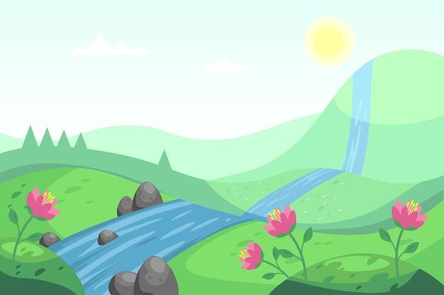 Paesaggio della primavera con il fiume e la natura Vettore gratuito