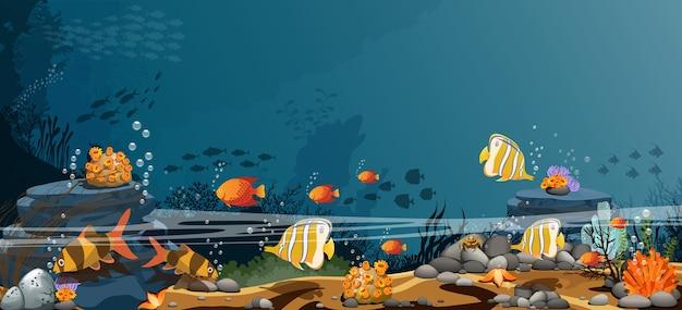 Paesaggio delle rocce oceaniche pesce e gli organismi che vivono insieme. Vettore Premium