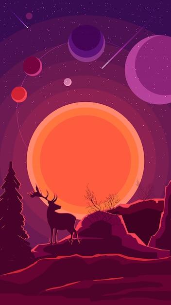 Paesaggio dello spazio con il tramonto e la sagoma di un cervo nei toni viola Vettore Premium