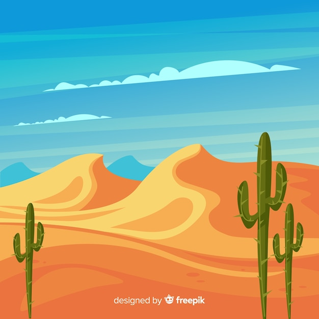 Paesaggio desertico illustrato con cactus Vettore gratuito