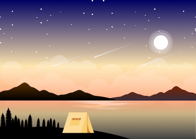 Paesaggio di campeggio di estate di notte con l'illustrazione stellata di notte Vettore Premium