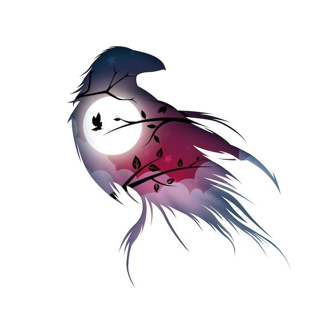 Paesaggio di carta dei cartoni animati. illustrazione di corvo Vettore Premium