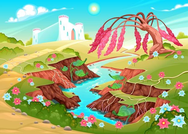 Paesaggio di fantasia con fiume, albero e castello Vettore Premium