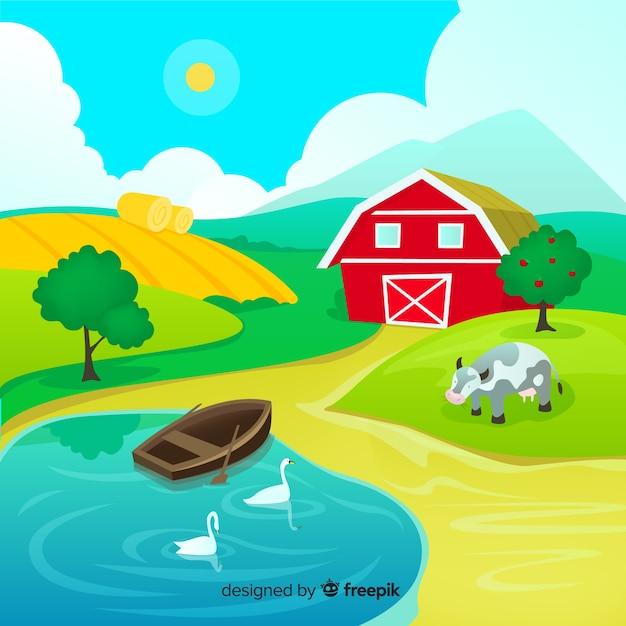 Paesaggio di fattoria dei cartoni animati Vettore gratuito