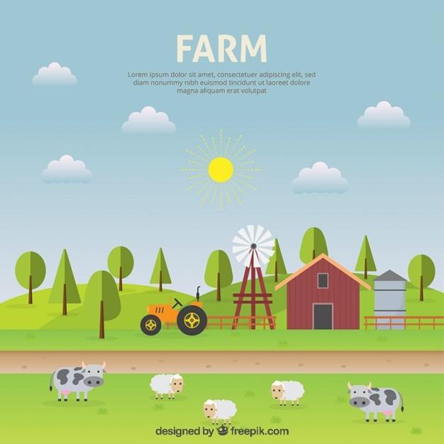 Paesaggio di fattoria design piatto scaricare vettori gratis for Costruttore di layout gratuito