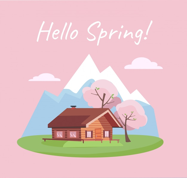 Paesaggio di fioritura della primavera con le montagne e la casa di campagna. Vettore Premium