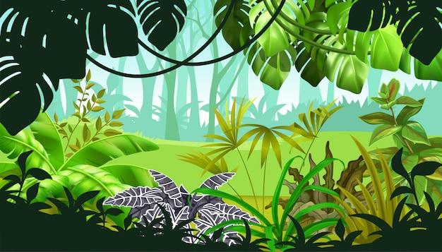 Paesaggio di gioco con piante tropicali Vettore gratuito
