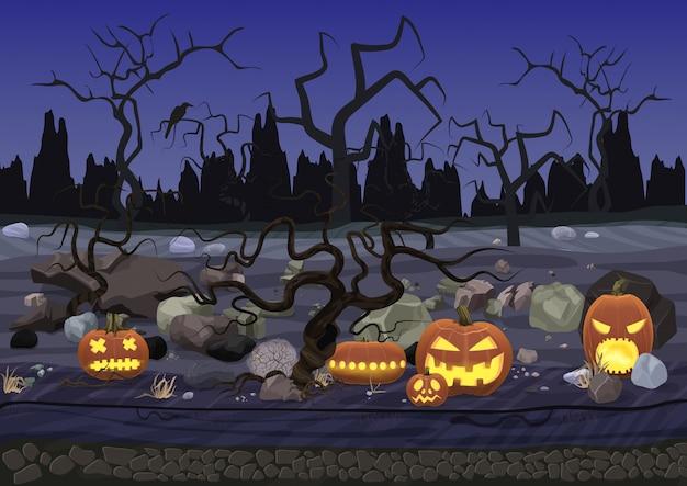 Paesaggio di halloween orrore spaventoso di notte Vettore Premium