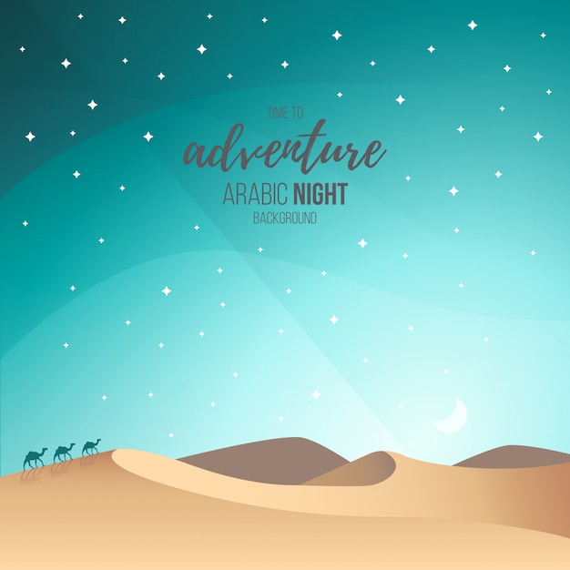 Paesaggio di notte araba Vettore gratuito