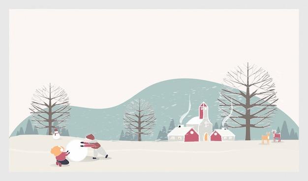 Paesaggio di paesaggio invernale di natale con bambini, pupazzo di neve e cervi Vettore Premium