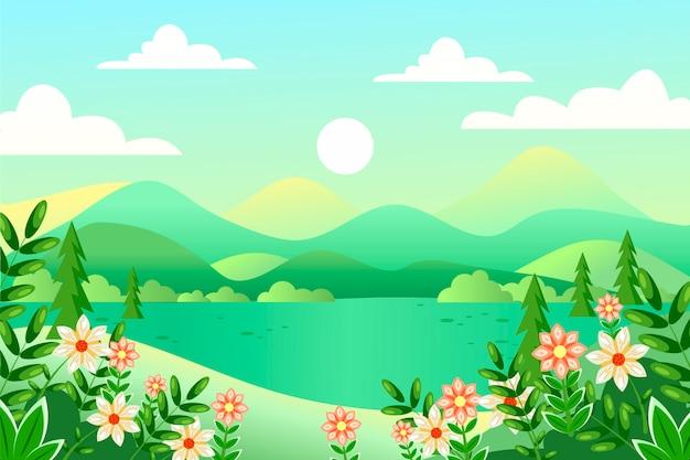 Paesaggio di primavera design piatto Vettore gratuito