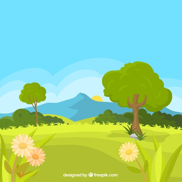 Paesaggio di sfondo primavera con prato e margherite Vettore gratuito