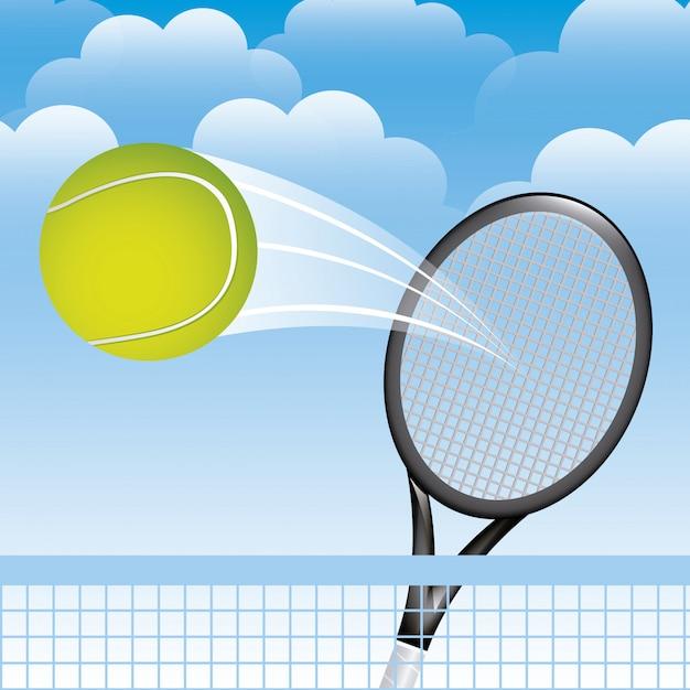 Paesaggio di tennis sopra l'illustrazione di vettore del fondo del cielo Vettore Premium