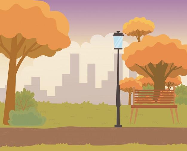 Paesaggio di un parco con alberi di design Vettore gratuito