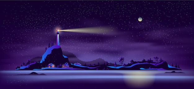 Paesaggio di vettore del fumetto dell'isola del nord distante Vettore gratuito