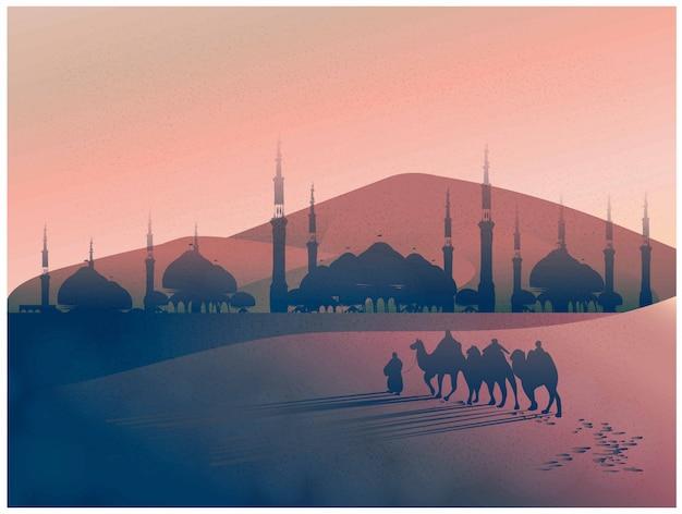 Paesaggio di vettore del viaggio arabo con i cammelli attraverso il deserto con la moschea Vettore Premium